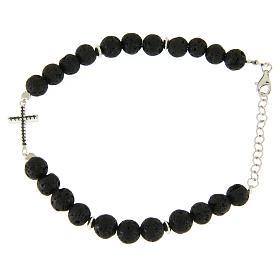 Bracelet with lava stone beads and black zirconate cross s1