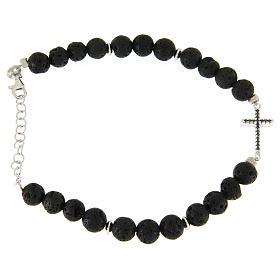 Bracelet with lava stone beads and black zirconate cross s2
