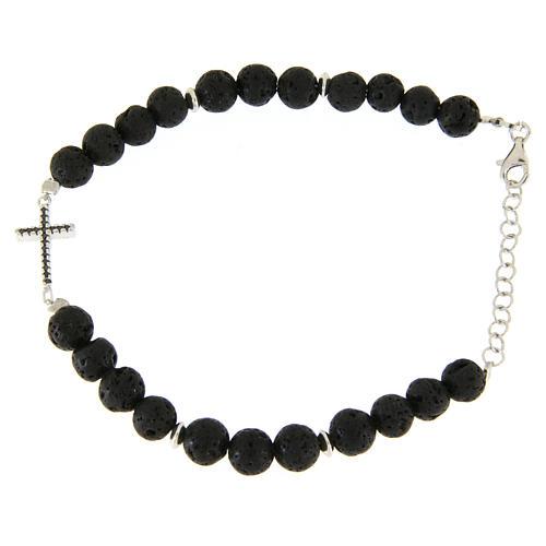 Bracelet with lava stone beads and black zirconate cross 1