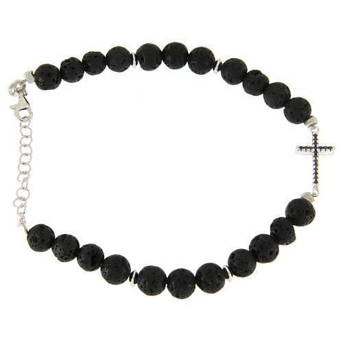 Bracelet with lava stone beads and black zirconate cross 2