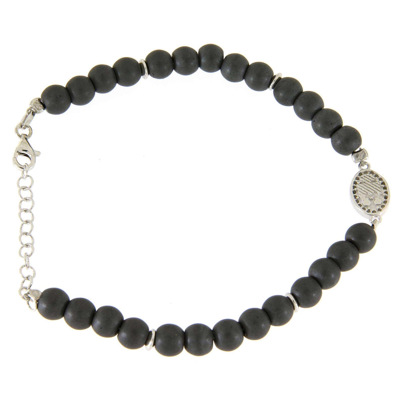 Opaque gray hematite stone bracelet with medal of Saint Rita white zircons 4