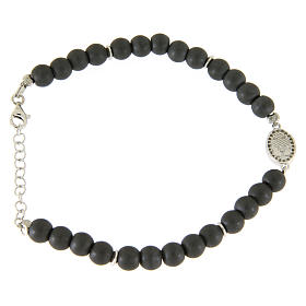 Opaque gray hematite stone bracelet with medal of Saint Rita white zircons s2