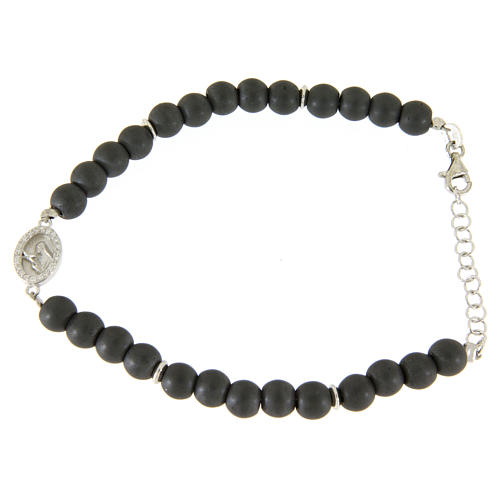 Opaque gray hematite stone bracelet with medal of Saint Rita white zircons 1
