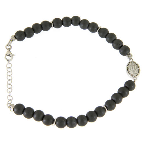 Opaque gray hematite stone bracelet with medal of Saint Rita white zircons 2