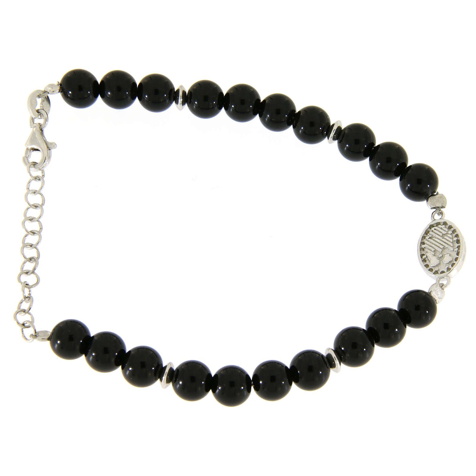 Bracelet with white and silver zircons, Saint Rita medal and black onyx beads 4