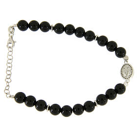 Bracelet with white and silver zircons, Saint Rita medal and black onyx beads s2