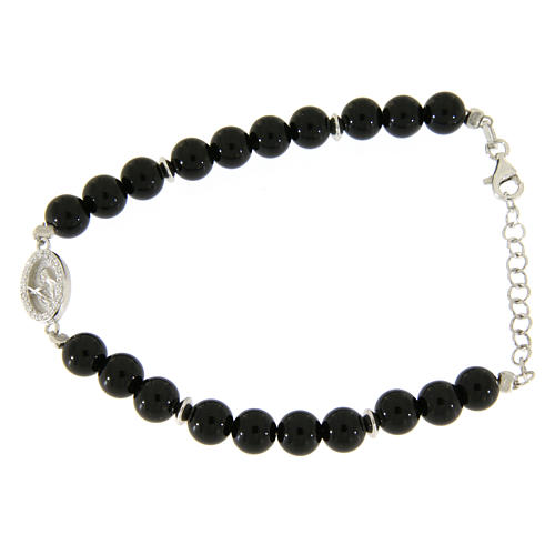 Bracelet with white and silver zircons, Saint Rita medal and black onyx beads 1
