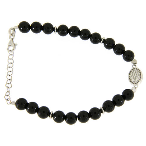 Bracelet with white and silver zircons, Saint Rita medal and black onyx beads 2