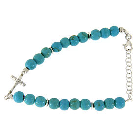 Silver bracelets: Bracelet in silver with turquoise spheres sized 6 mm and white zircons