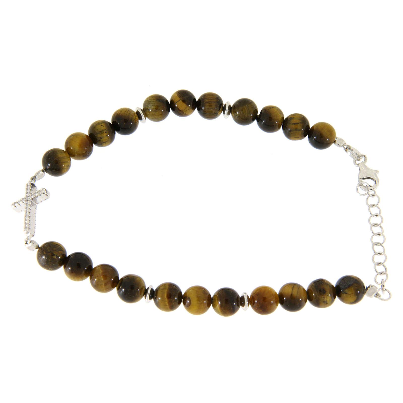 Bracelet with smooth tiger's eye balls, a cross with white zircons in 925 sterling silver 4