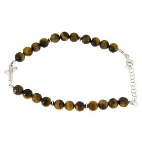 Bracelet with smooth tiger's eye balls, a cross with white zircons in 925 sterling silver s2