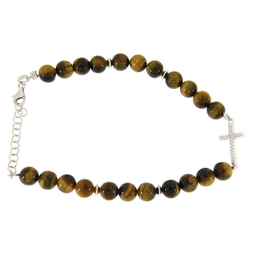 Bracelet with smooth tiger's eye balls, a cross with white zircons in 925 sterling silver 1