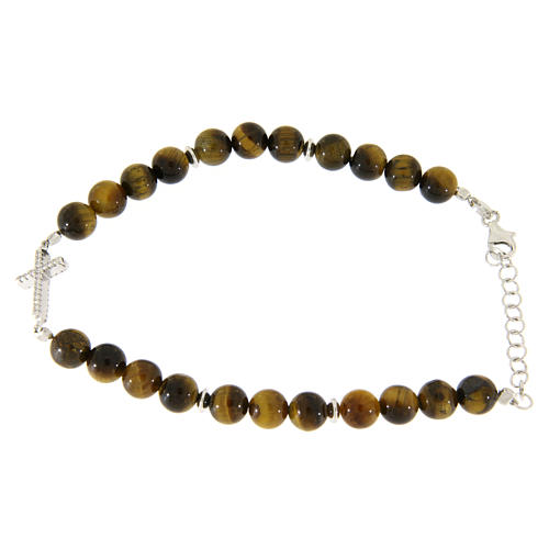 Bracelet with smooth tiger's eye balls, a cross with white zircons in 925 sterling silver 2