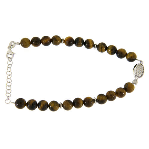 Bracelet with Saint Rita medal with white zircons and smooth tiger's eye spheres 2