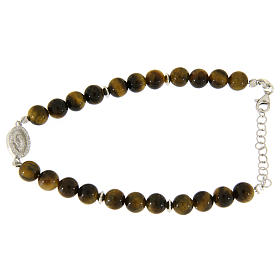 Silver bracelets: Bracelet with Saint Rita medal with white zircons and smooth tiger's eye spheres