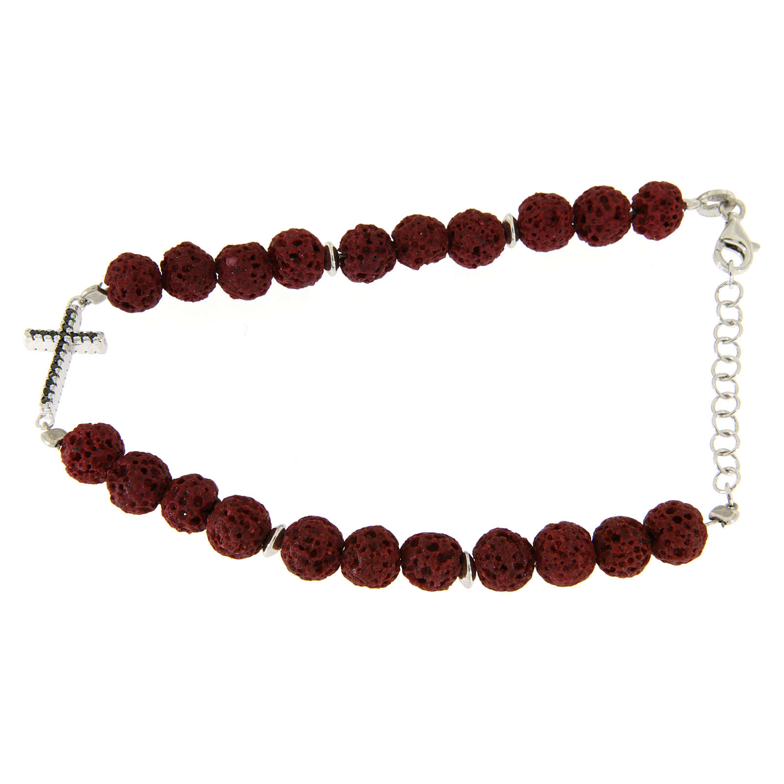 Bracciale con pietre laviche rosse, inserto croce zirconi neri - argento 925 4
