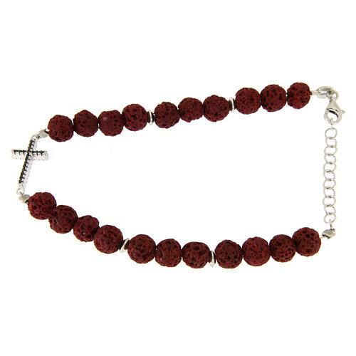Bracciale con pietre laviche rosse, inserto croce zirconi neri - argento 925 1
