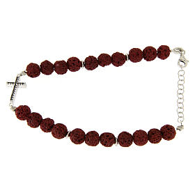 Silver bracelets: Bracelet with red lava stones, cross insert and black zircons in 925 sterling silver