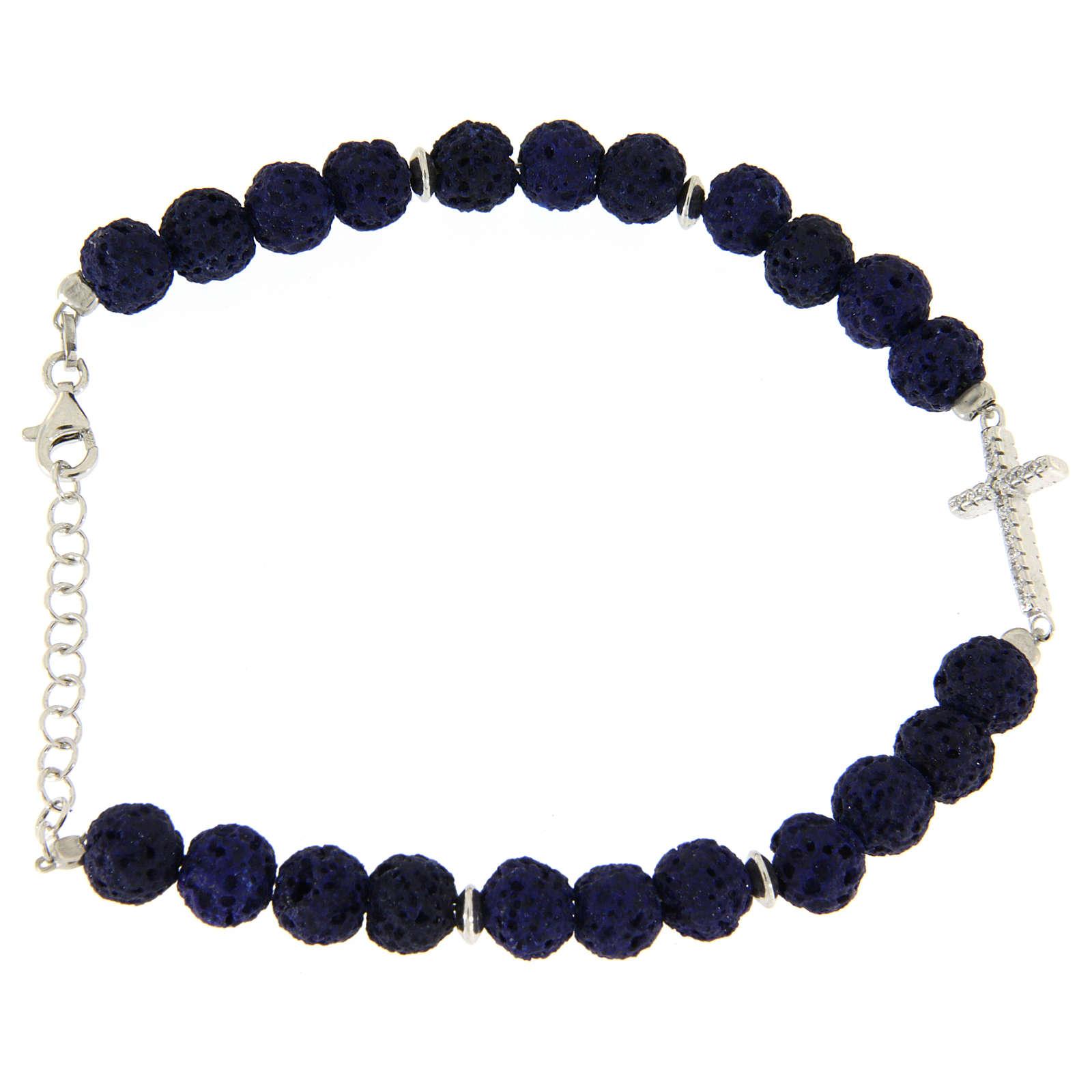 Bracciale pietre laviche blu e inserto croce zirconata bianca - argento 925 4