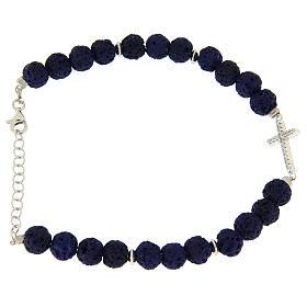 Bracciale pietre laviche blu e inserto croce zirconata bianca - argento 925 s2