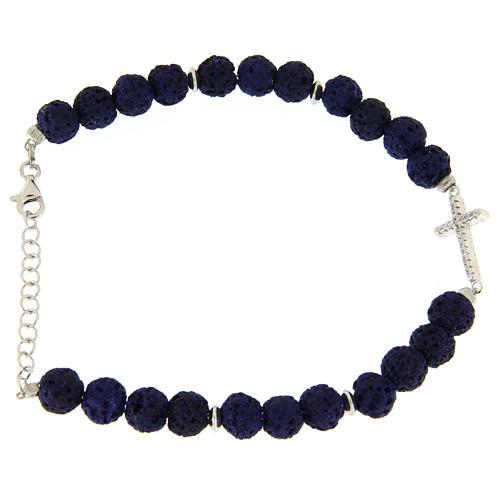 Bracciale pietre laviche blu e inserto croce zirconata bianca - argento 925 2