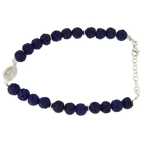 Bracciale argento e pietra lavica blu - medaglietta S. Rita applicata con zirconi bianchi 1
