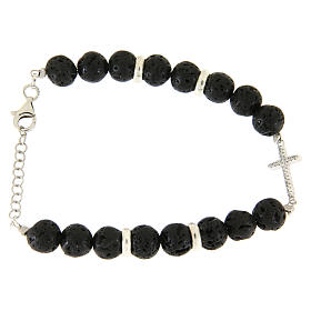 Silver bracelets: Bracelet with lava stones sized 7 mm, white zirconate cross and silver details