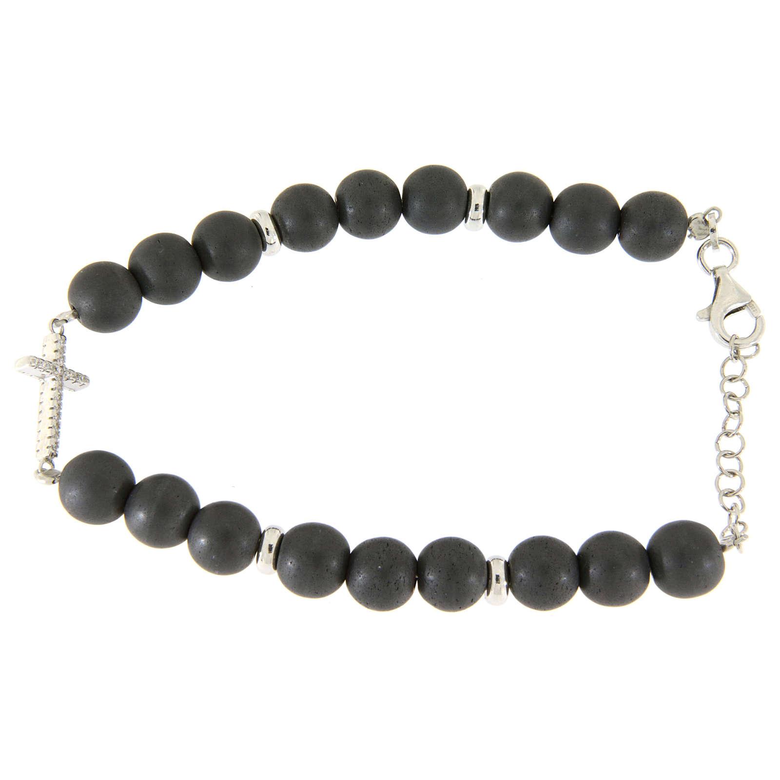 Bracciale perline ematite grigie 7 mm, croce zirconi bianchi 4
