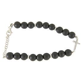 Bracciale perline ematite grigie 7 mm, croce zirconi bianchi s1