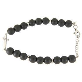 Bracciale perline ematite grigie 7 mm, croce zirconi bianchi s2