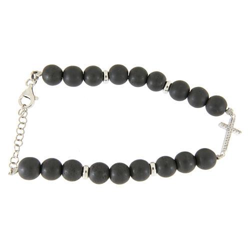 Bracciale perline ematite grigie 7 mm, croce zirconi bianchi 1