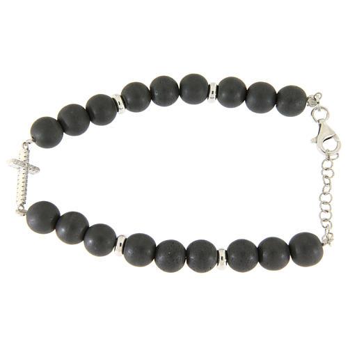 Bracciale perline ematite grigie 7 mm, croce zirconi bianchi 2