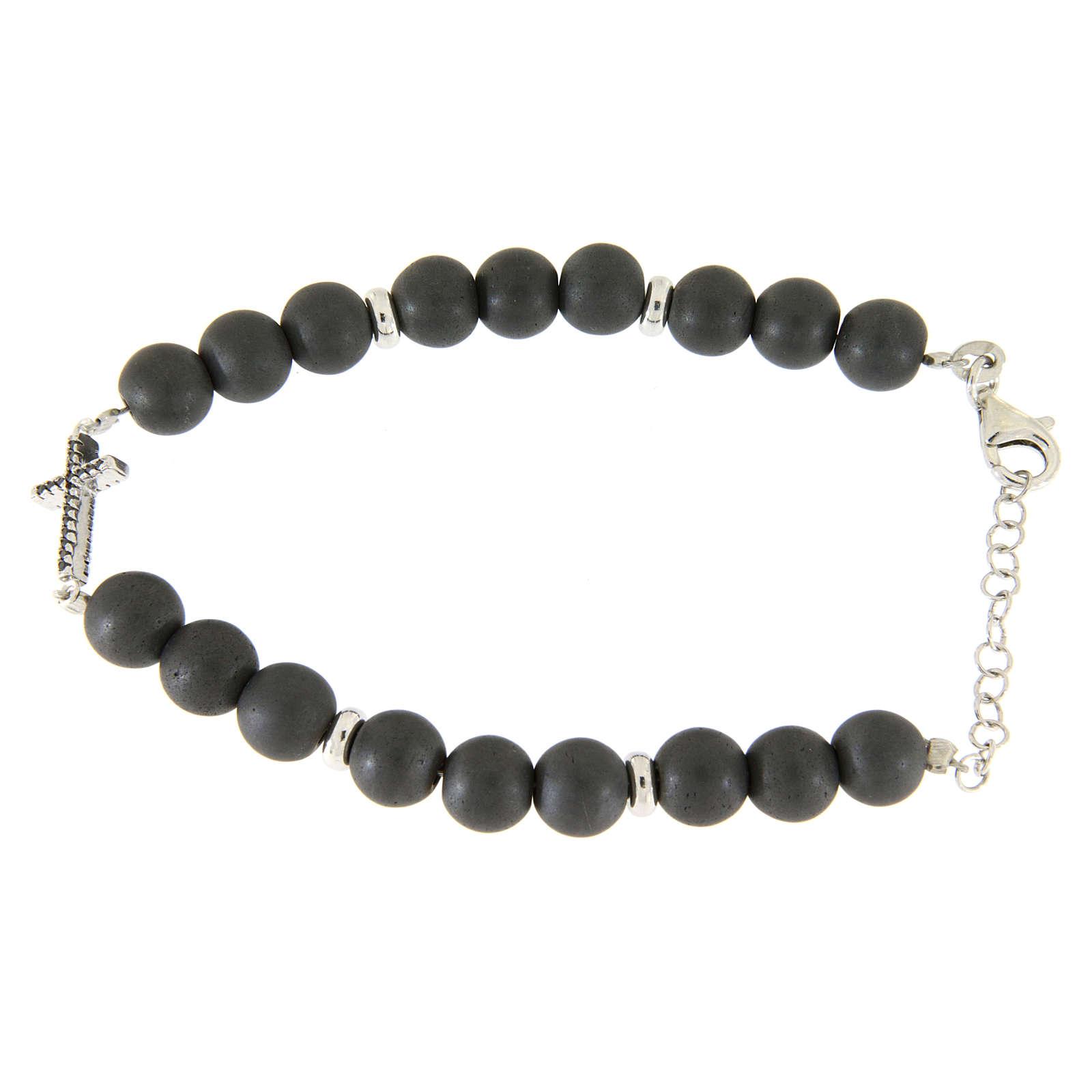 Bracciale perline ematite e croce zirconi neri, dettagli argento 925 4