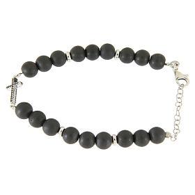 Bracciale perline ematite e croce zirconi neri, dettagli argento 925 s2