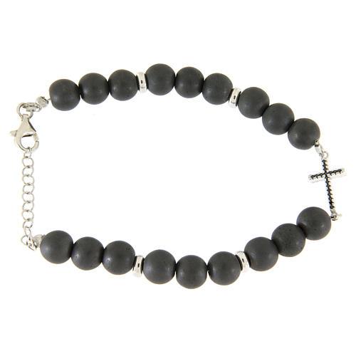 Bracciale perline ematite e croce zirconi neri, dettagli argento 925 1