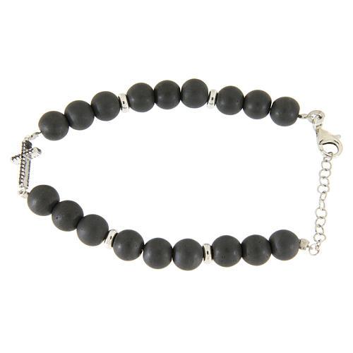 Bracciale perline ematite e croce zirconi neri, dettagli argento 925 2