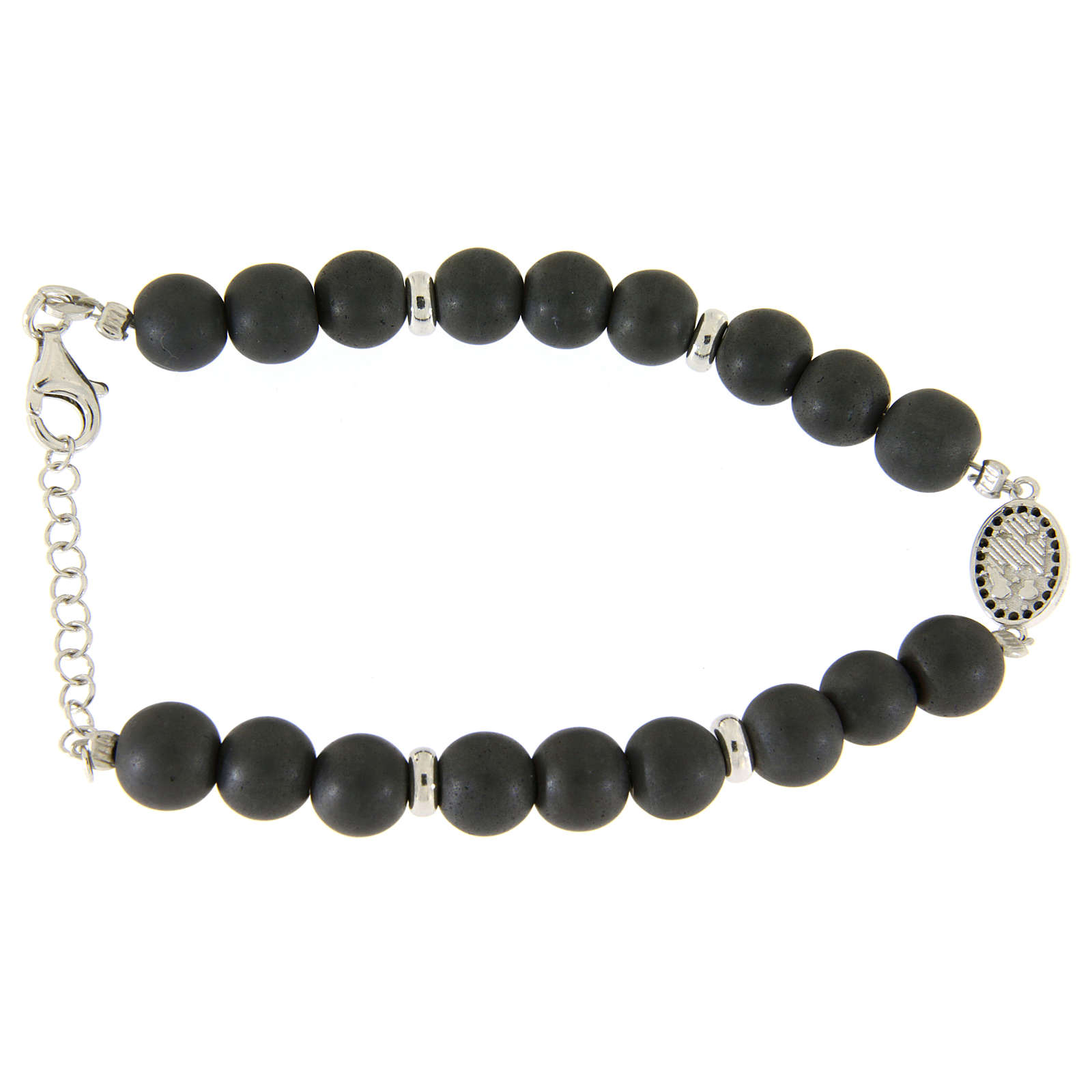 Bracelet with Saint Rita medalet, black zircons and hematite beads sized 7 mm 4