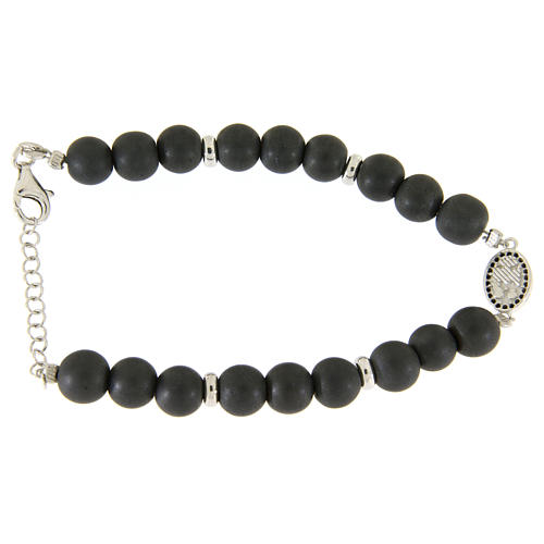 Bracelet with Saint Rita medalet, black zircons and hematite beads sized 7 mm 2