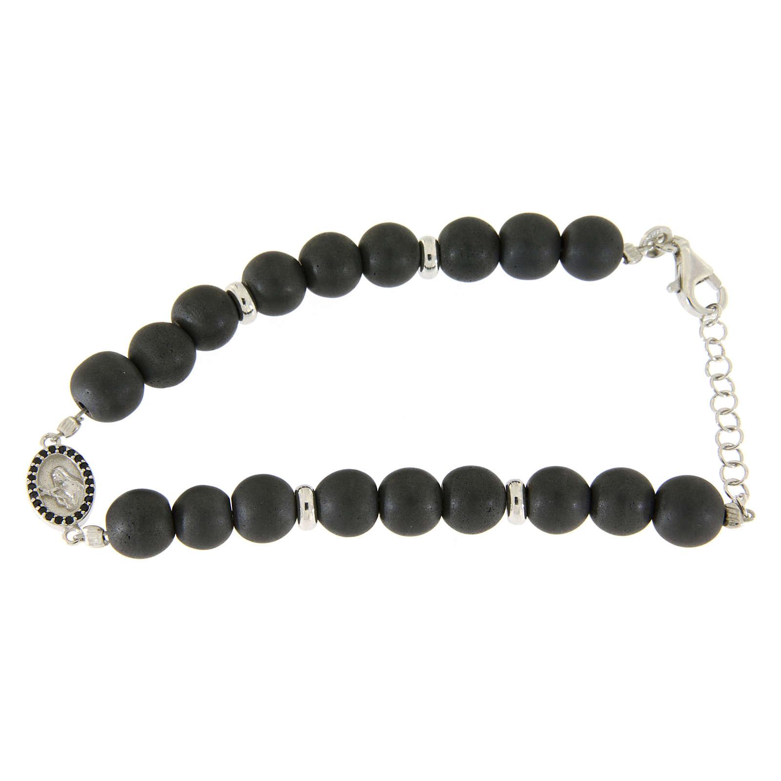 Bracelet médaille Ste Rita argent et zircons noirs perles en hématite 7 mm 4