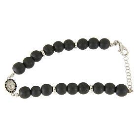 Bracelet médaille Ste Rita argent et zircons noirs perles en hématite 7 mm s1