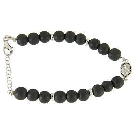 Bracelet médaille Ste Rita argent et zircons noirs perles en hématite 7 mm s2