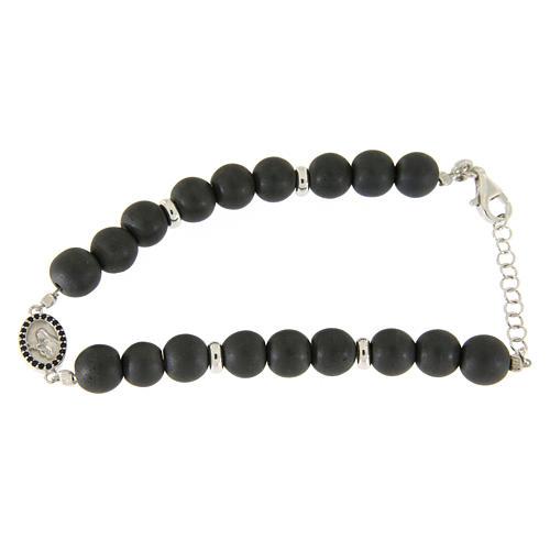 Bracelet médaille Ste Rita argent et zircons noirs perles en hématite 7 mm 1