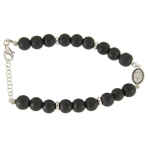 Bracelet médaille Ste Rita argent et zircons noirs perles en hématite 7 mm 2