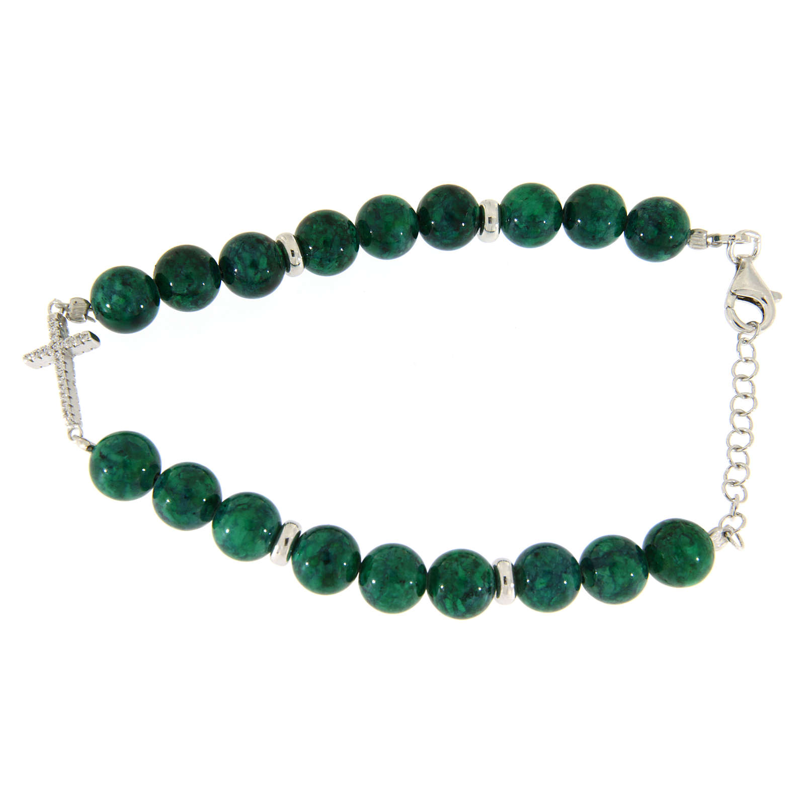 Bracciale perline resina verdi simil malachite 7 mm e croce zirconi bianchi 4