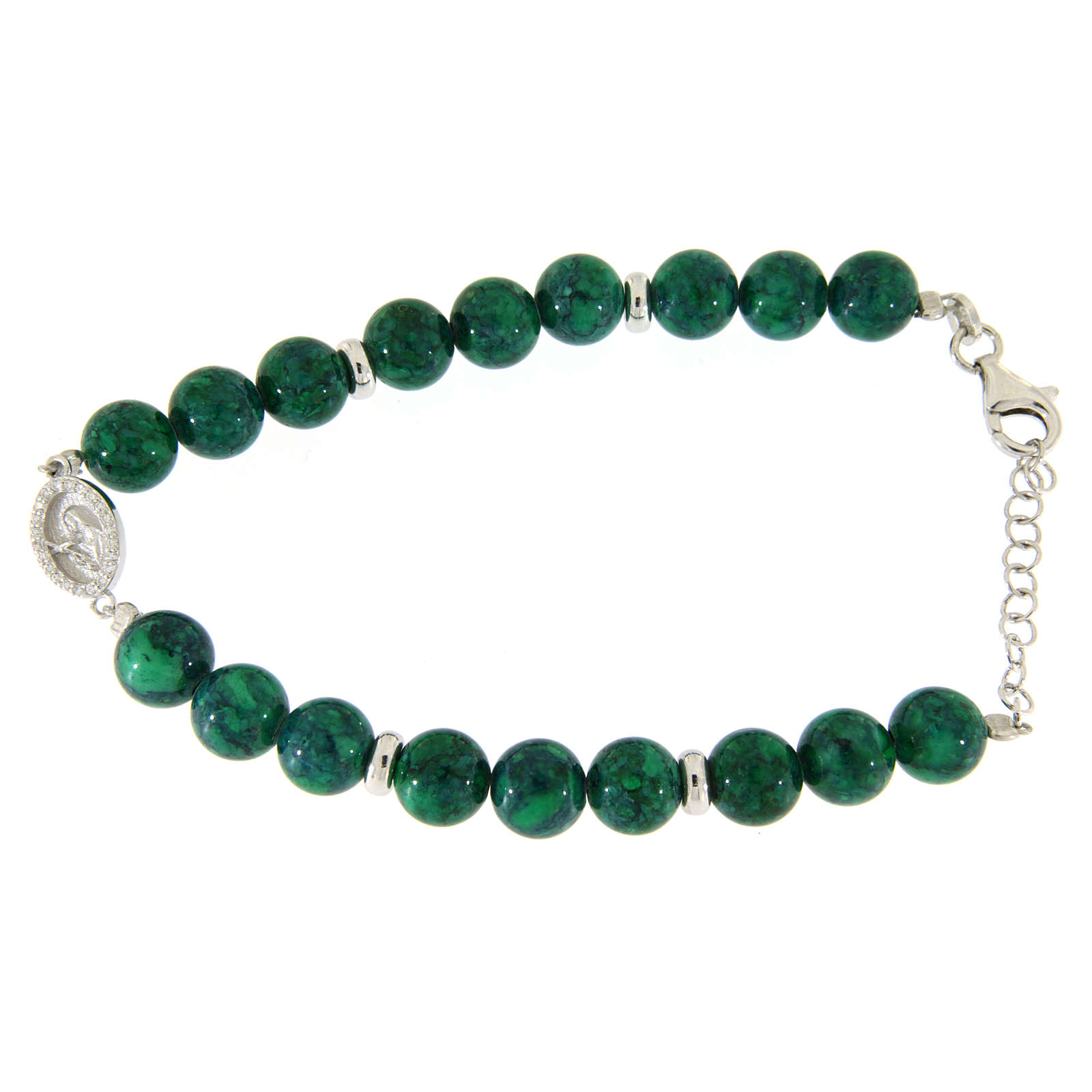 Bracciale argento, pietre dure resina verdi 7 mm, medaglietta S. Rita con zirconi bianchi 4