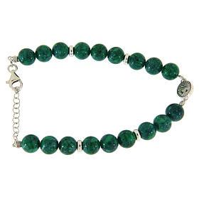 Bracciale argento, pietre dure resina verdi 7 mm, medaglietta S. Rita con zirconi bianchi s2