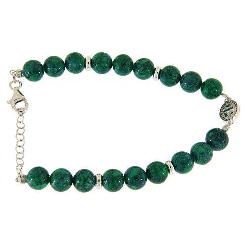 Bracciale argento, pietre dure resina verdi 7 mm, medaglietta S. Rita con zirconi bianchi 2
