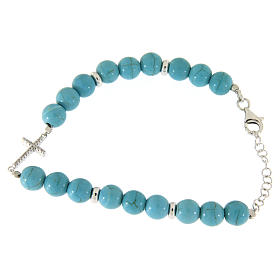 Silver bracelets: Bracelet with beads in turquoise paste with gold veins, a white zirconate cross made in 925 sterling silver