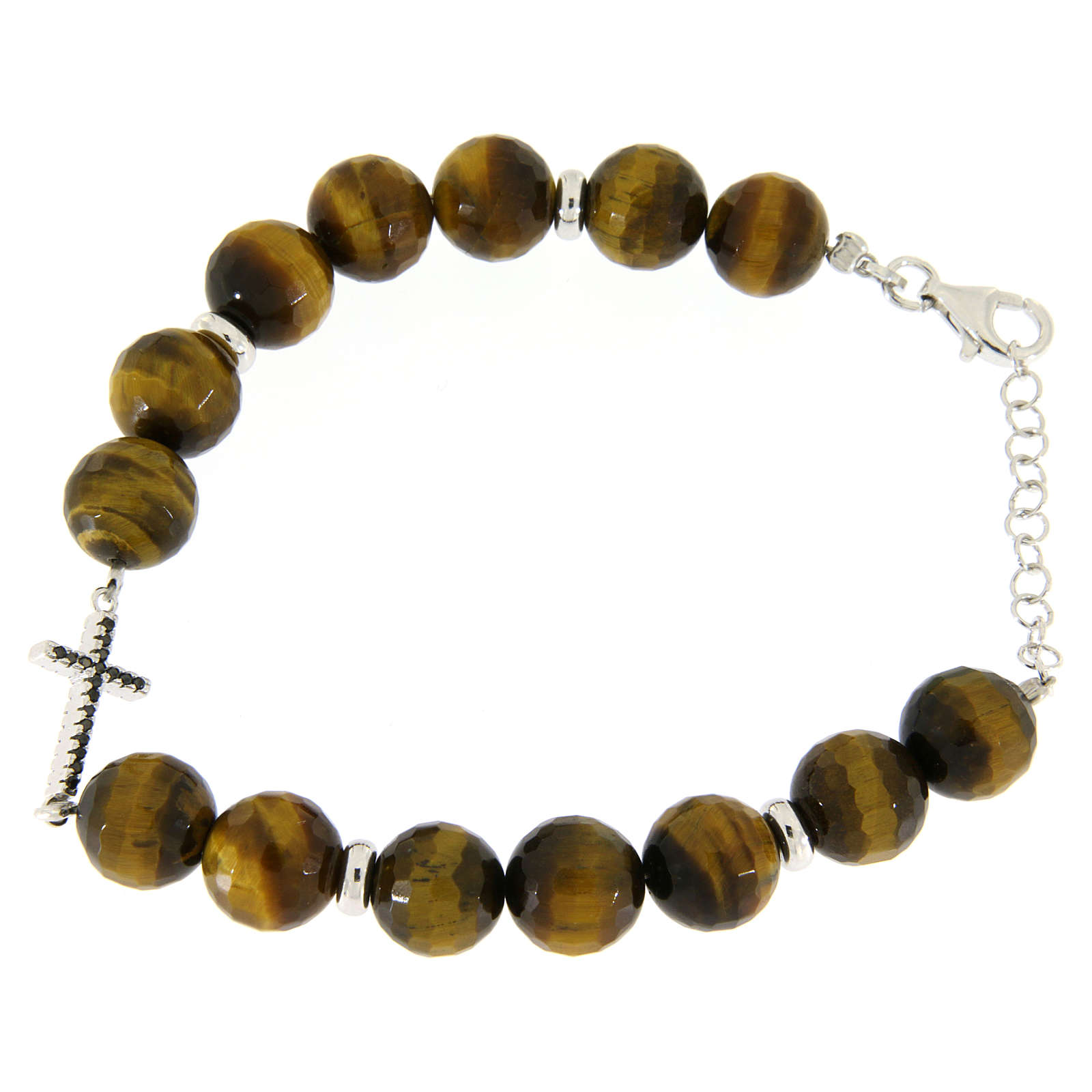 Bracelet with tiger's eye stones sized 9 mm, black zirconate cross and silver details 4