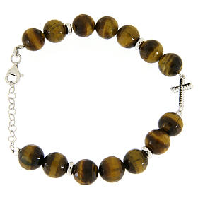 Bracelet with tiger's eye stones sized 9 mm, black zirconate cross and silver details s2